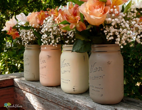 Fall Table Decor / Rustic Home Decor / Painted Mason Jars / Thanksgiving Centerpiece / Vase / Autumn decor / Fall centerpiece / Set of 4