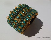 Hand crochet cuff bracelet with beads and rhinestones | costume jewelry | womans accessories