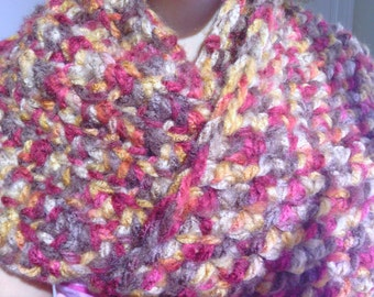 Crochet Infinity Cowl, Loop Scarf, Beautiful Fall Colors, 70 Inches Circumference, Thick, Soft, Warm, Fluffy, Chunky, Cowl