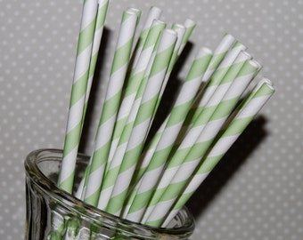 """25 extra long soda bottle light green stripe paper drinking straws - with FREE Blank Flags. See also - """"Personalized"""" flags option."""