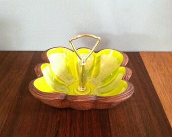 Vintage Ceramic Glazed Lime Green Tid Bit Tray