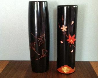 VIntage Japanese Black Lacquer Vases Set of 2