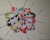 Two Chevron fabric luggage tags