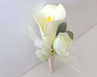 Boutonniere, Ivory Calla Lily Boutonniere, Ivory Calla Lily Corsage