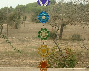 Summer sale 20%Off coupon code: SUMMERSALE2017   Yoga decoration, Set of 7 Chakras, Suncatcher,  Sacred geometry,  Hanging mobile