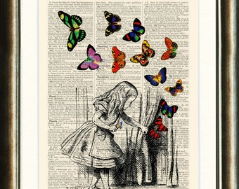 Alice in Wonderland Upcycled vintage image printed on a page from an Antique late 1800s Dictionary BUY 3 get 1 Free