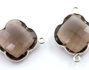 Natural Smoky Topaz, Bezel Clover Gemstone Component,20mm, 1 Piece, (SSBZC8029)