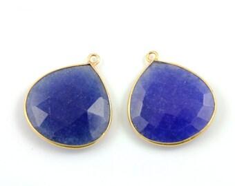 Dyed Sapphire, Bezel  HeartShape Component, Gold Vermeil ,  25mm, 1 Piece, (BZCT6210-B)