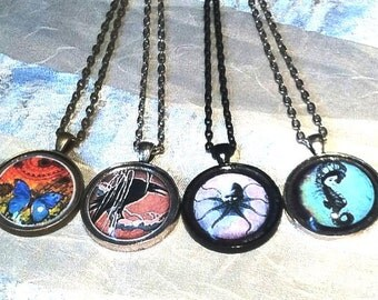 4 Steampunk & Goth Necklaces Butterfly Raven Octopus Boy Seahorse Girl