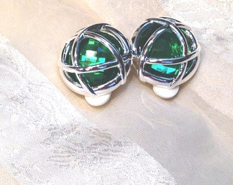 Vintage Green Holiday Earrings Estate Jewelry for Christmas & Saint Patricks Day
