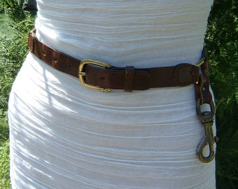 Tuscan Brown colored Leather Belt with Brass Buckle and Belt Loop Key Holder 1970's Size 10