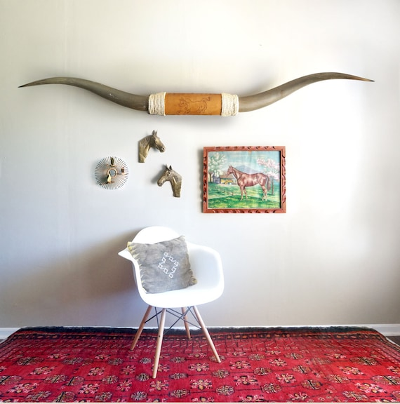 Vintage 7' Mounted Longhorns with Tooled Leather