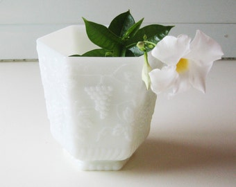 Vintage Anchor Hocking, Vase,  Milk Glass Planter, Hexagon,  Milk Glass Bowl, Grape and Leaf
