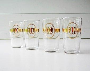 "Gold Trim Glasses,  Retro Beverage Glasses, Monogrammed letter ""W"", Gold Chevron Pattern"