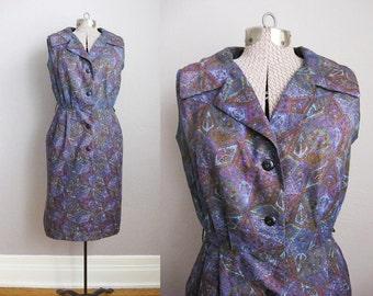 1950s Vintage Dress Purple Print 50s Day Dress Rhona Roy  / 38 Medium