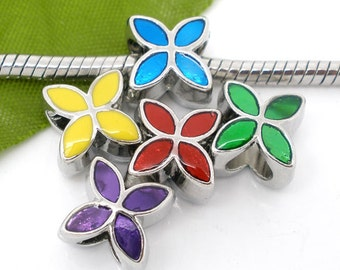 5 Pieces Enamel 4 Petals Flower European Beads