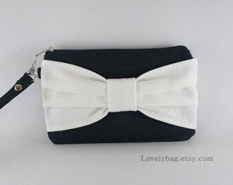 SUPER SALE - Navy Blue with Ivory Bow Clutch - iPhone 5 Wallet, iPhone Wristlet, Cell Phone Wristlet,Z ipper Pouch - Made To Order