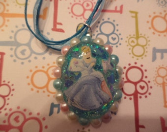 Cinderella inspired necklace,resin jewelry,kawaii jewelry,cameo necklace