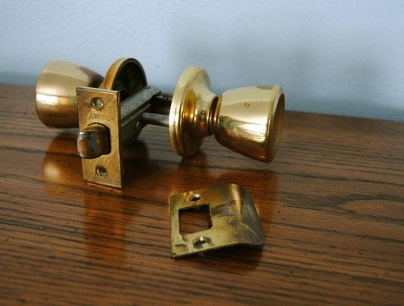 Vintage Midcentury Brass Kwikset Door Knob. Gold Metal Two Way