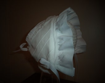 Special Easter or Baptismal bonnet with sweet ruffles.