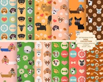 Dog digital paper dog digital backgrounds part 1- INSTANT DOWNLOAD