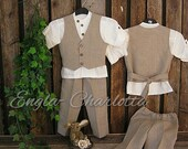Boys linen suit. Rustic ring bearer outfit. Toddler boy formal wear. Unbleached linen boys wedding outfit. First birthday linen suit