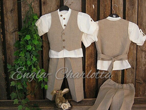 Boys linen suit. Rustic ring bearer outfit. Toddler boy formal wear. Dark beige boys linen clothes. Boys wedding outfit. Boys first birthday