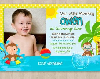 Monkey Pool Birthday Invitation - DIY Custom Printable