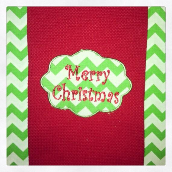 Kitchen Towels Xmas: Merry Christmas Chevron Kitchen Towel
