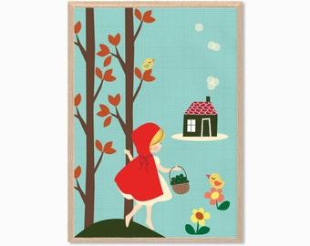 FAIRY TALE   Red Riding Hood Poster : Modern Illustration Children Retro Art Wall Decor Print