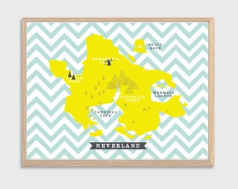 PETER PAN | Neverland Map Poster : Disney Modern Illustration Retro Art Wall Decor Print