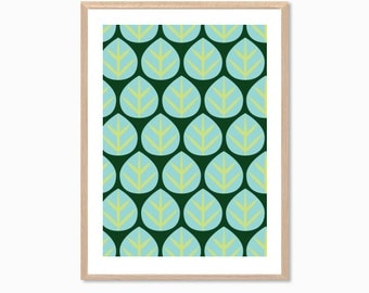 SUMMER | Leaves Poster : Modern Illustration Retro Art Wall Decor Print