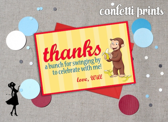 Thank You Card - CURIOUS GEORGE Printable