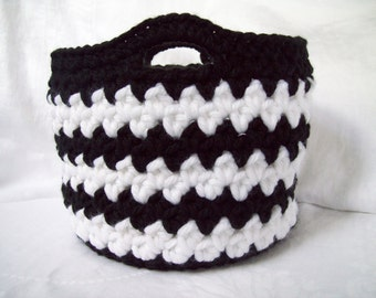 Crochet Basket, Decorative Basket, Black & White Storage Basket, Gift Basket