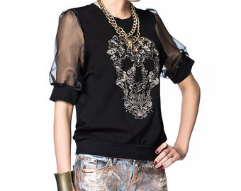Sheer Sleeve Skull-Embroidered Top