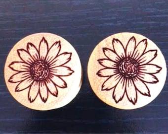"Custom Handmade Organic ""SunFlower"" Wood Plugs - You choose wood type/color and size 7/16"" - 30mm"
