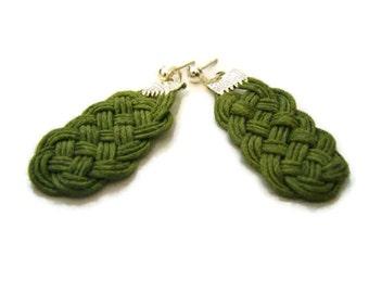 Green Earrings, Knot Earrings, Cord Rope Earrings, Dangle Earrings, Statement Earrings, Celtic Knot Earrings, Sailor Knot, Macrame, OOAK
