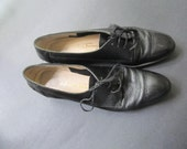 Salvatore Ferragamo Black Loafers Flats - Low Heel Shoes - Vintage Loafers 7 AAA - - Vintage Shoes