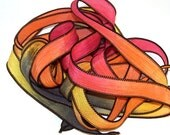 Sassy Silks Hand Dyed/Painted Ribbons Fire Ball