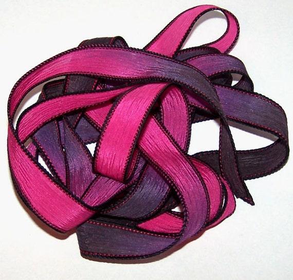 Sassy Silks Hand Painted Wrist Wrap Ribbon Uptown Girl