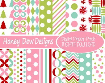 Instant Download - Digital Paper Pack 243 - Christmas Paper