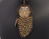 Necklace  Abstract owl porcelain faced necklace with magnatama beads