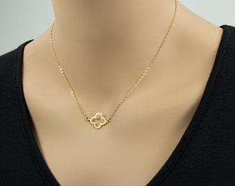 SALE! Clover Gold Necklace - Four Leaf Clover Necklace, Good Luck, Clover Necklace