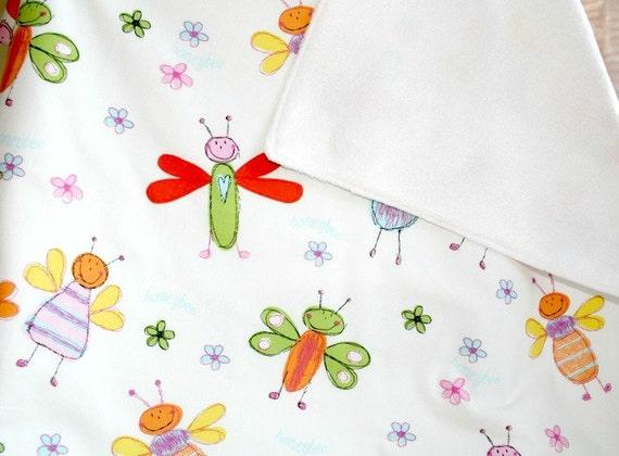 Butterfly  Baby Girl Blanket, Toddler Comforter, Butterfly Theme Nursery, Stroller Blanket, Car Seat Blanket, Infant Comforter
