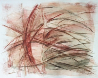 """SALE !!! Original painting, """"The Riddle of Love"""". Large watercolor abstract. 20""""x25"""" Rust, red, carmine and grey."""