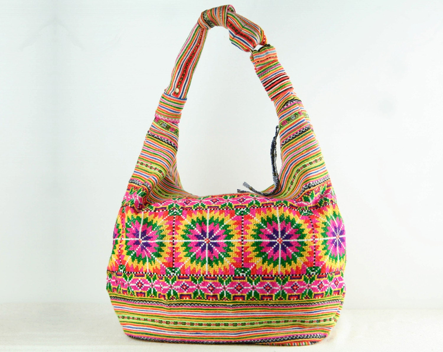 Rasta Hobo Bag Hippie Slouch Purse Ethnic Floral Embroidered