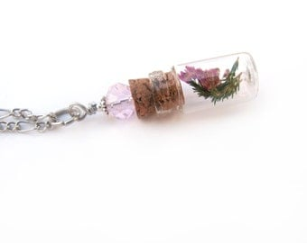 Real Heather Glass Bottle Necklace - Flowes in Glass Vial -  Pressed Flower Jewelry - Glass Bottle Pendant -  Botanical Jewelry