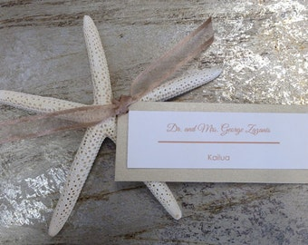 PLACE CARDS SET of 50 (Escort Card) with Starfish or Beach Party Place Card, Double Layer - You Personalize Names and Colors