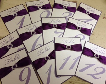 Table Numbers  - Elegant Double Layer with Ribbon and Jeweled Brooche - SET OF 10 for wedding, bat mitzvah, sweet 16, engagement party