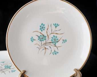 4 USA China Bread Plates with Aqua Teal Blue Bachelor Button Flowers Vintage 1950s Set of 4